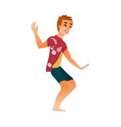 flat young man dancing at beach party vector image vector image