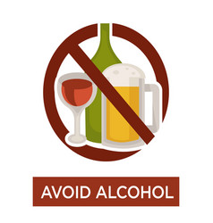 avoid alcohol warning crossed beer and wine icon vector image