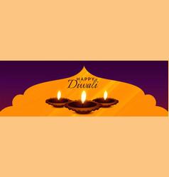 Beautiful hindu diwali festival diya banner design vector