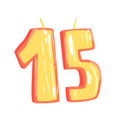 birthday candles number 15 cartoon vector image
