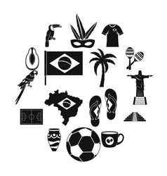Brazil travel symbols icons set simple style vector