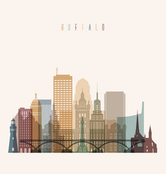 Buffalo state new york skyline detailed silhouette vector
