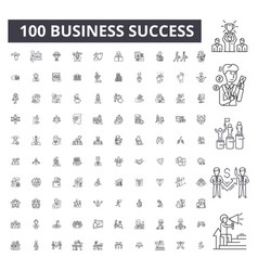 business success editable line icons 100 vector image