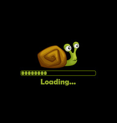 cartoon cute snail and loading icon for game menu vector image