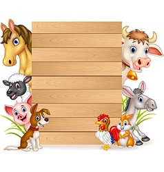 Cartoon funny farm animals with wooden sign vector