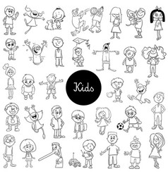 cartoon kids black and white collection vector image