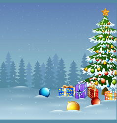christmas tree in winter background with gift boxe vector image