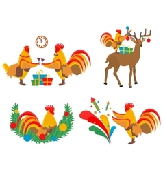 Cock and Christmas vector image