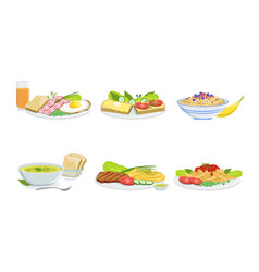 Collection different food set delicious served vector