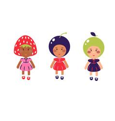 costumed kids cartoon vector image