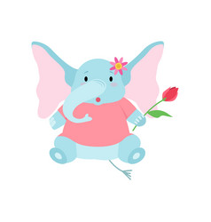 Cute elephant sitting with flower funny animal vector