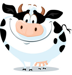 cute fat cow farm animal cartoon vector image
