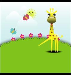 Cute giraffe standing in grassland vector