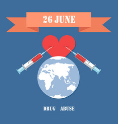 Drug abuse poster with two syringe in heart vector