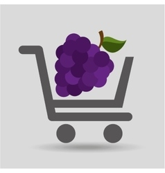 E-shopping fresh grape fruit design vector