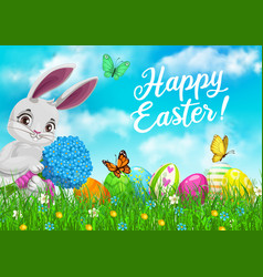 easter bunny flowers and eggs in green grass vector image