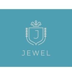 Elegant monogram letter J logotype Premium crest vector image