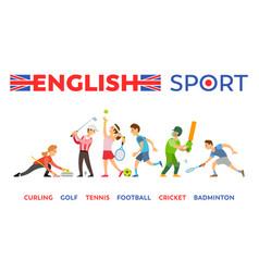 english sport curling golf tennis football cricket vector image