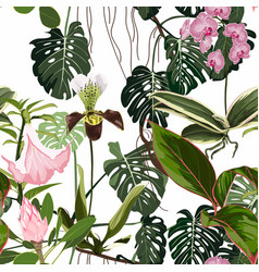 Exotic flowers seamless pattern vector