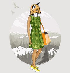 Fashion hipster fox on forest background vector
