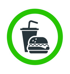 fast food allowed drinking and eating green sign vector image
