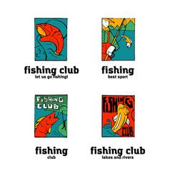 Fishing club logo set vector