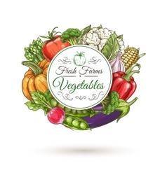 Fresh farm vegetables badge sketch style vector