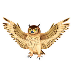 Funny owl with opened wings vector