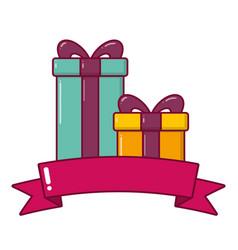 gifts box with bow ribbon vector image