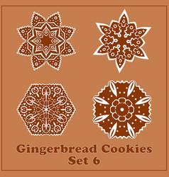 Gingerbread snowflakes cookies set merry vector