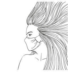 Girl in medical face mask sketch teenage girl vector