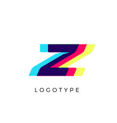 Glitch effect letter z colored spectrum overlay vector