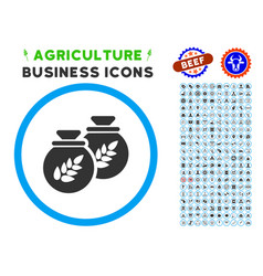 grain harvest sacks rounded icon with set vector image