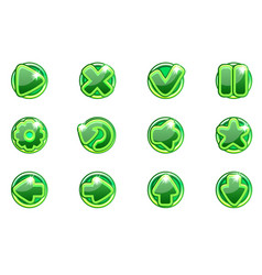 green circles collection set glass buttons vector image