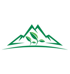 green nature mountain plant logo icon vector image