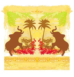 grunge background with elephant vector image