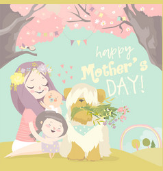 happy woman and children in blooming spring vector image