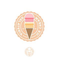 Ice cream logo italian gelateria cafeteria cone vector