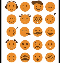 Icons set 20 emotional and kids smiles vector