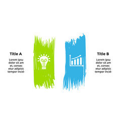 Infographics for 2 steps options color brush vector