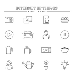 Internet of things and smart home line icons set vector