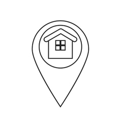 Isolated house inside gps button design vector