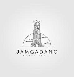 Jam gadang line art logo design jam gadang vector