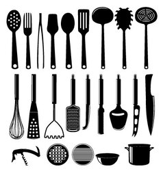 Kitchenware icon set isolated on white vector image