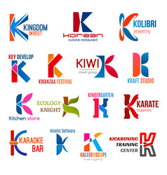 letter k corporate identity business icons vector image