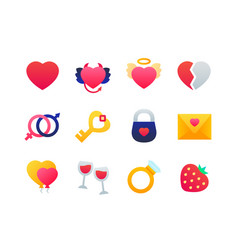 love and romance - set of flat design style icons vector image