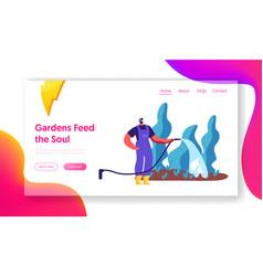 male gardener watering plant garden landing page vector image
