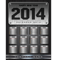 Metal Calendar 2014 Background Design vector image