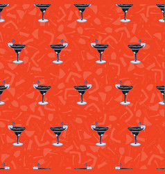 Mixed drinks cocktails glass seamless vector