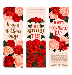 Mother day bouquet of rose flower greeting banner vector